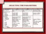 selecting the parameters