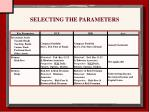 selecting the parameters27