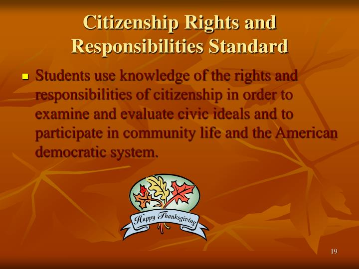 citizens rights and responsibilities Citizenship is the common thread that connects all americans we are a nation bound not by race or religion, but by the shared values of freedom, liberty, and equality.