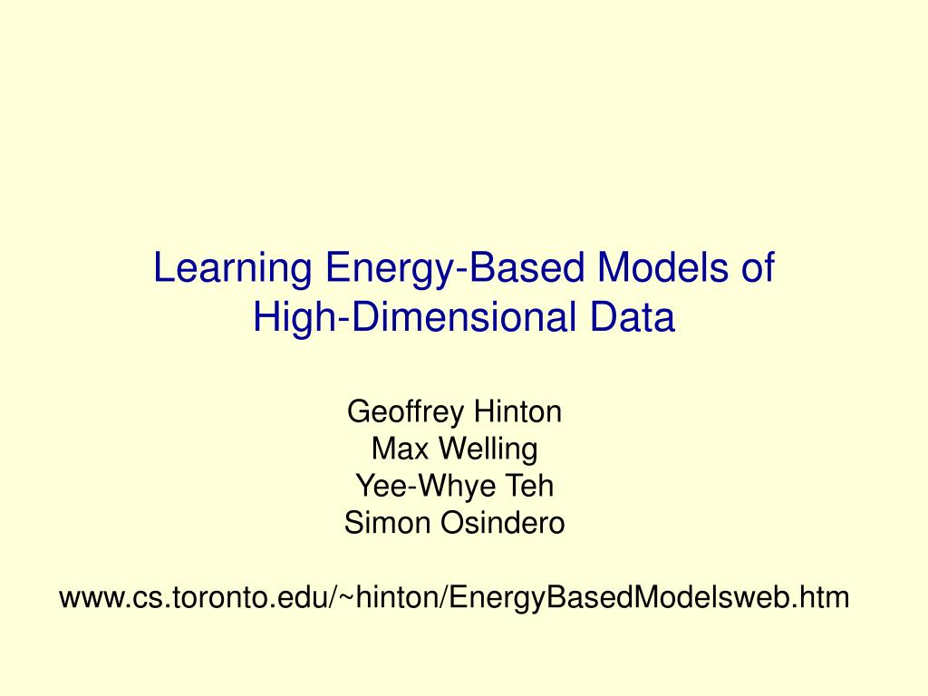 learning energy based models of high dimensional data l.