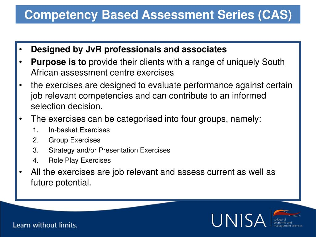 Competency Based Assessment Series (CAS)
