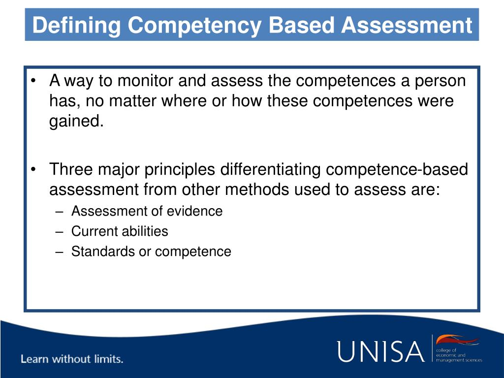 Defining Competency Based Assessment