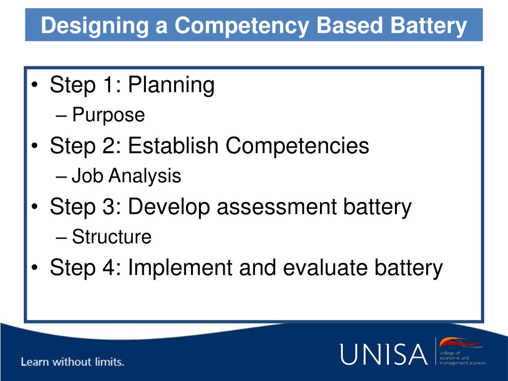 Designing a Competency Based Battery