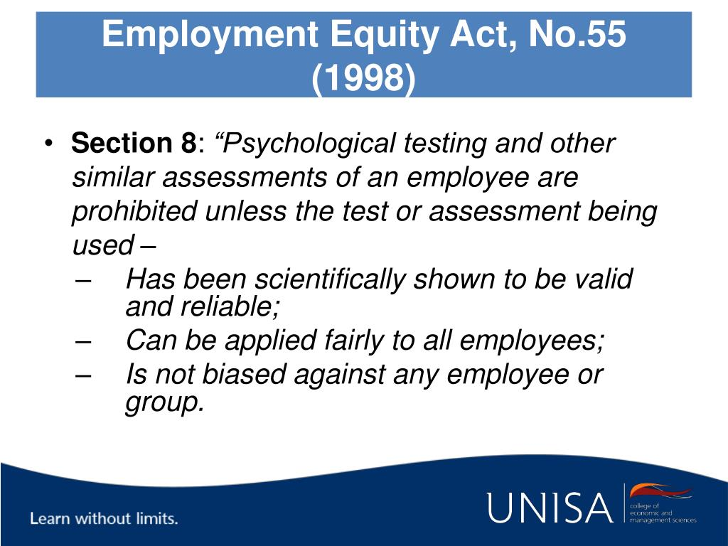 Employment Equity Act, No.55 (1998)