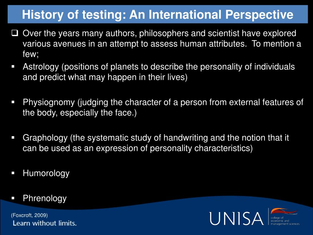 History of testing: An International Perspective