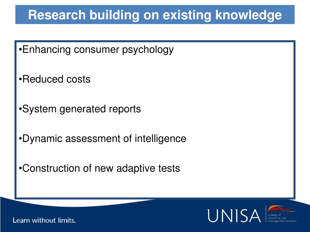 Research building on existing knowledge