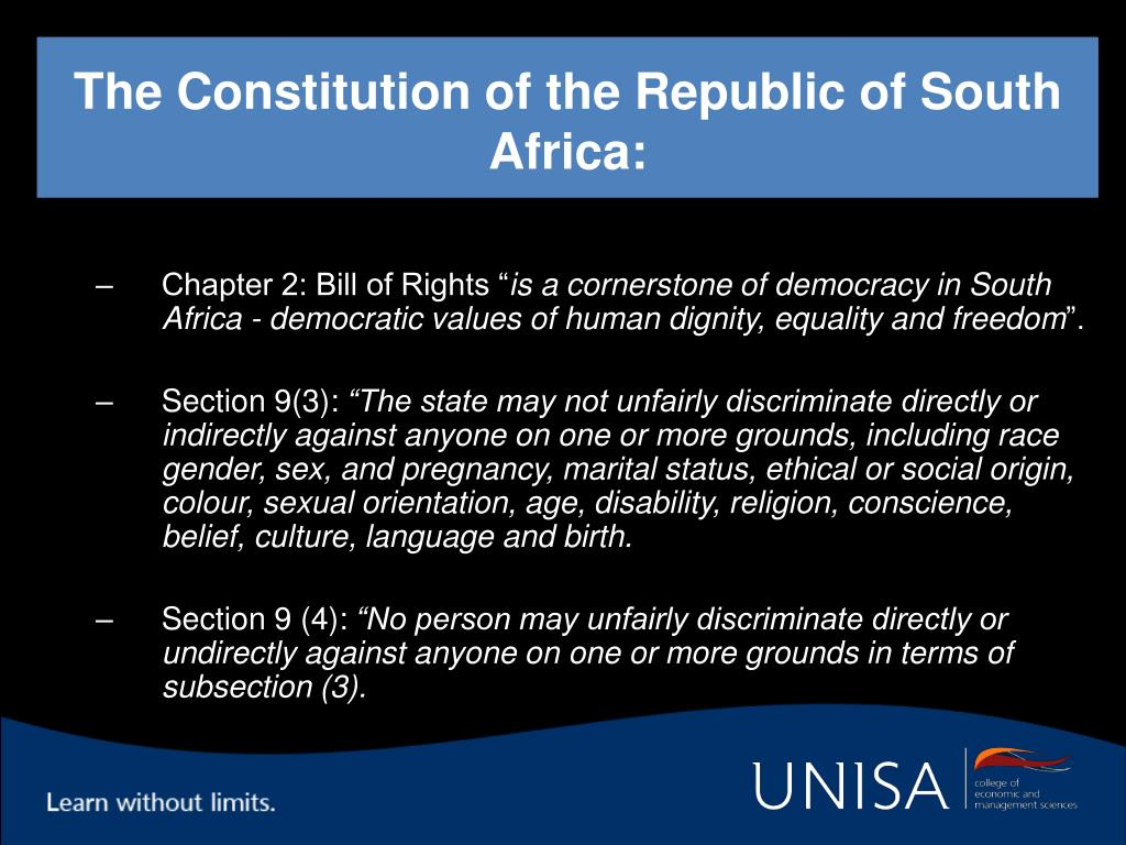 The Constitution of the Republic of South Africa: