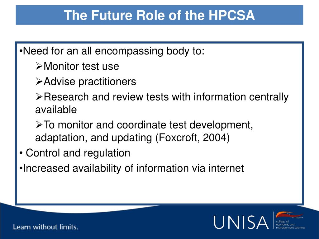 The Future Role of the HPCSA