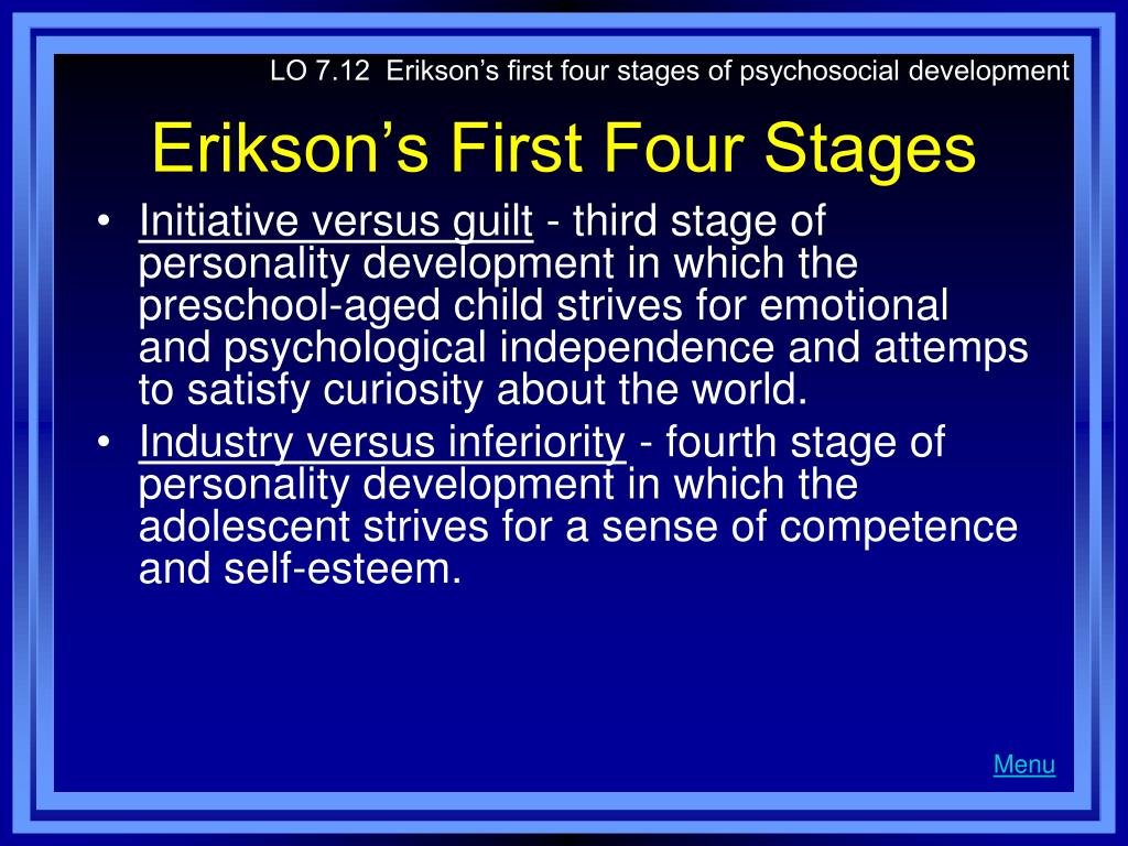 LO 7.12  Erikson's first four stages of psychosocial development