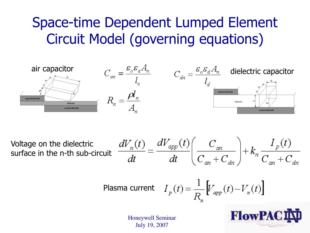 Space-time Dependent Lumped Element Circuit Model (governing equations)