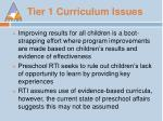 tier 1 curriculum issues