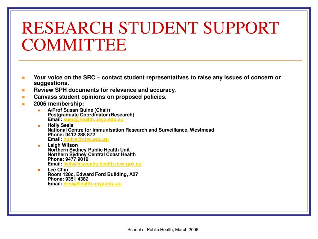 RESEARCH STUDENT SUPPORT COMMITTEE
