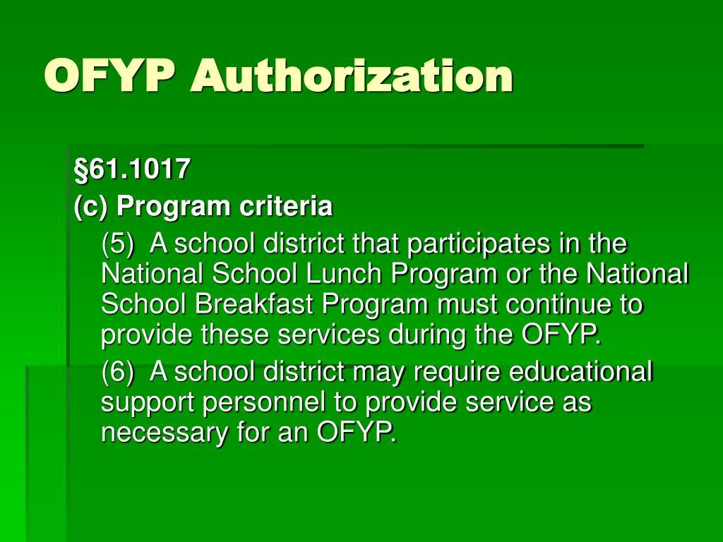 OFYP Authorization