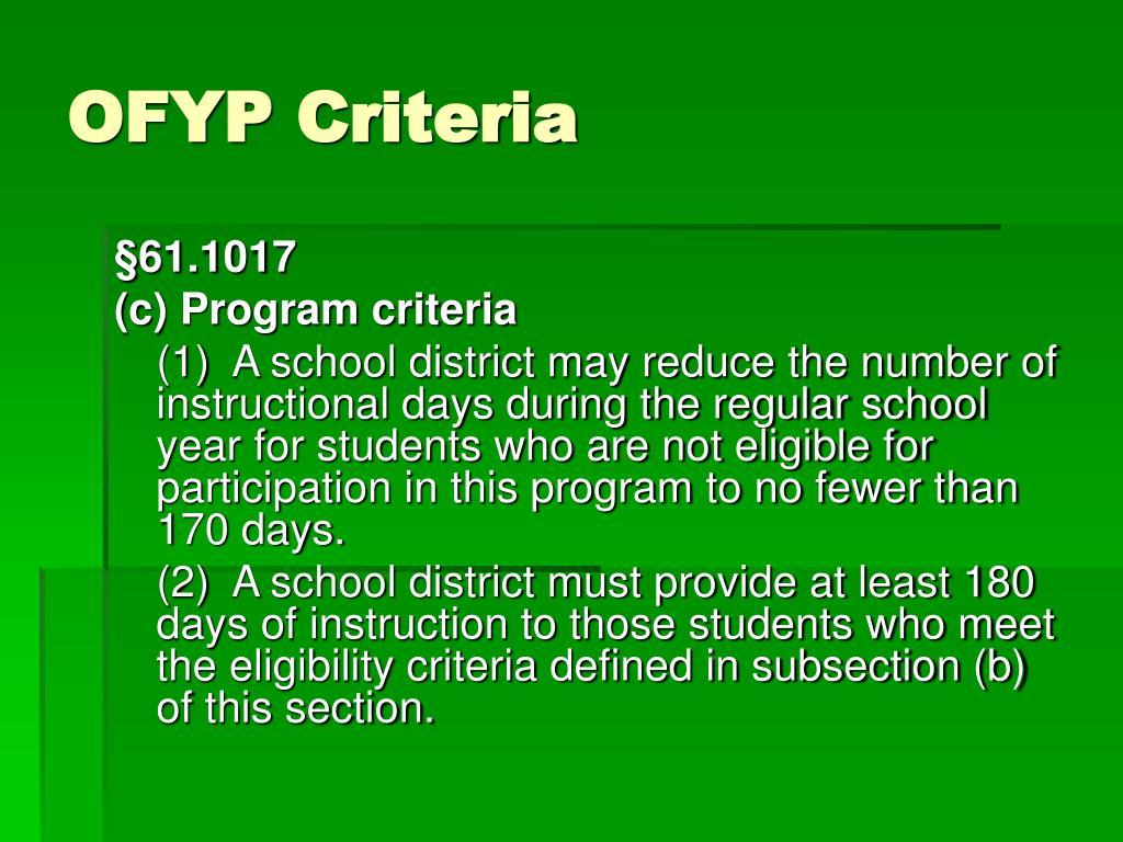 OFYP Criteria