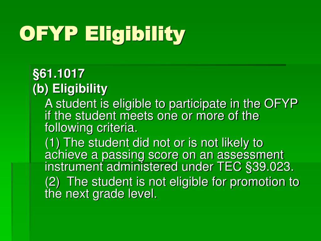 OFYP Eligibility