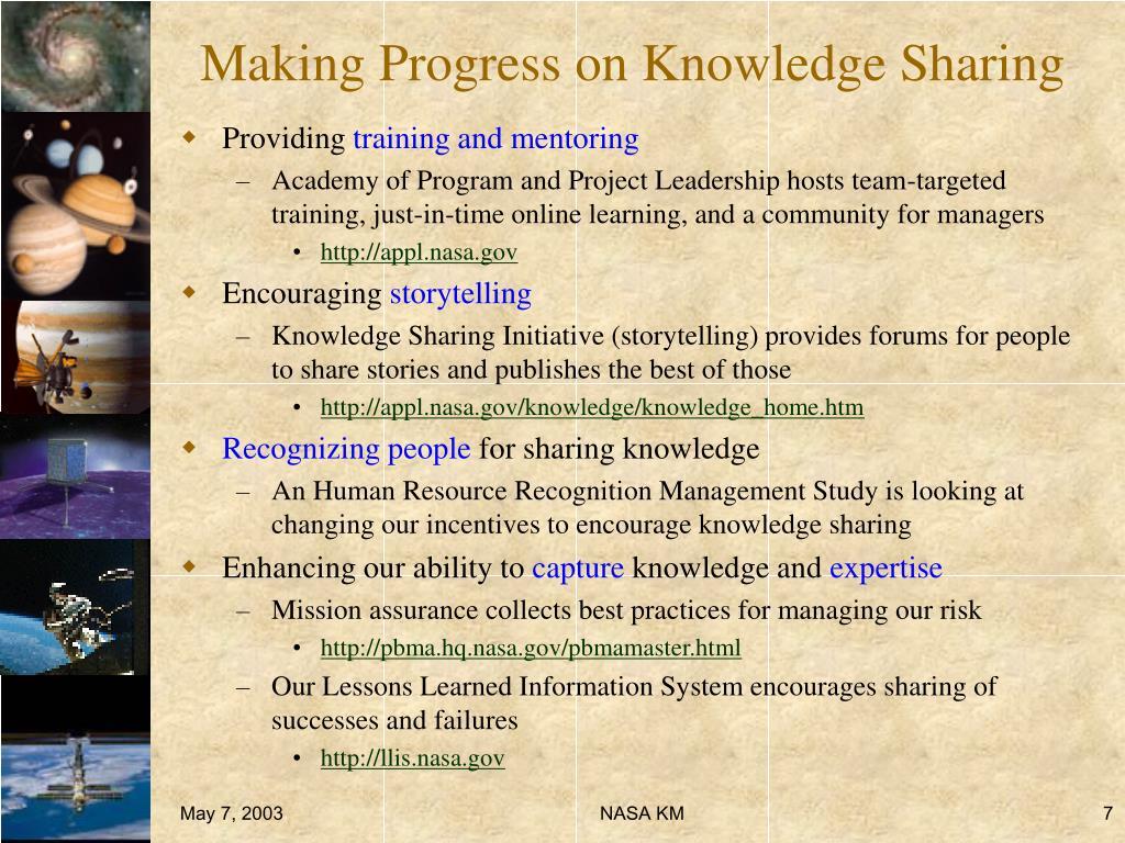 Making Progress on Knowledge Sharing