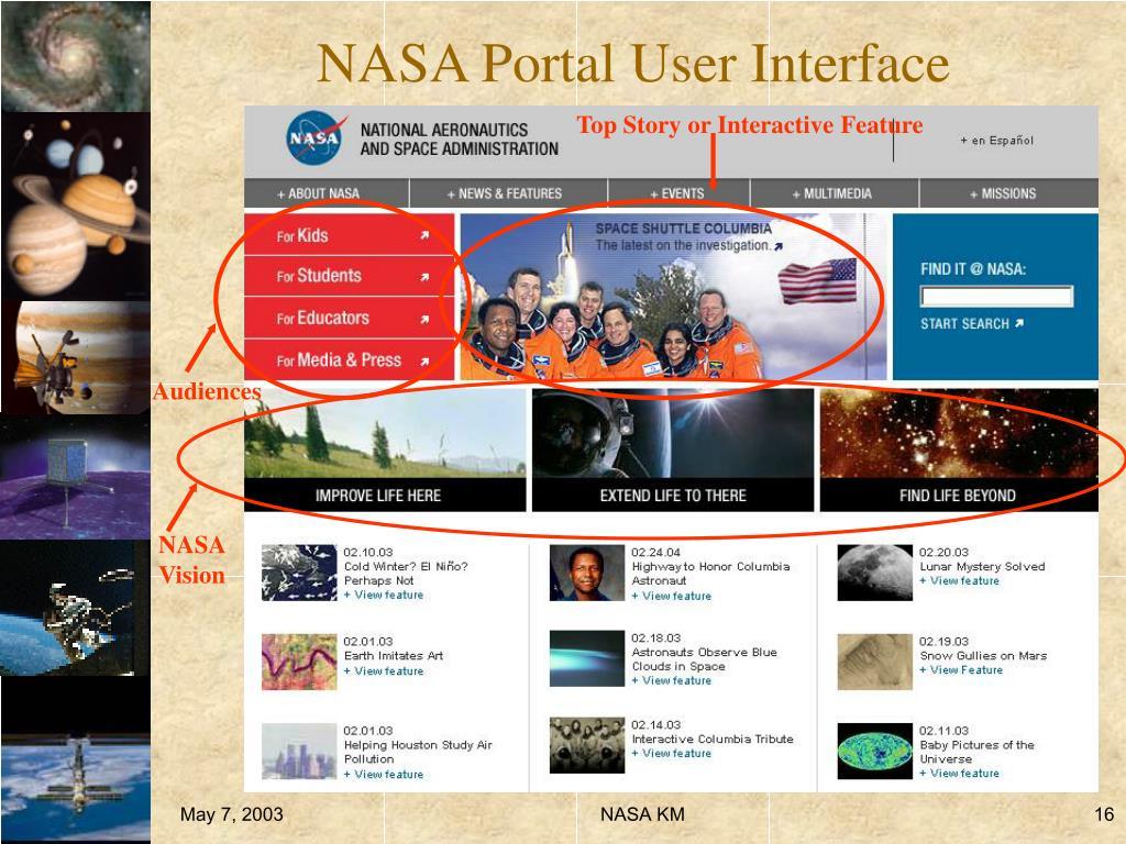 NASA Portal User Interface