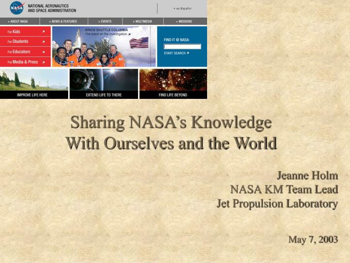 Sharing nasa s knowledge with ourselves and the world