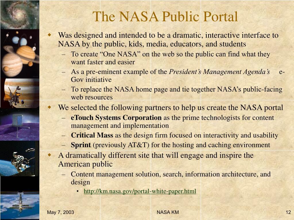 The NASA Public Portal