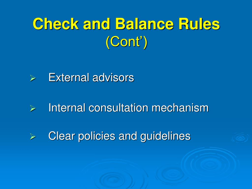 Check and Balance Rules