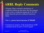 arrl reply comments