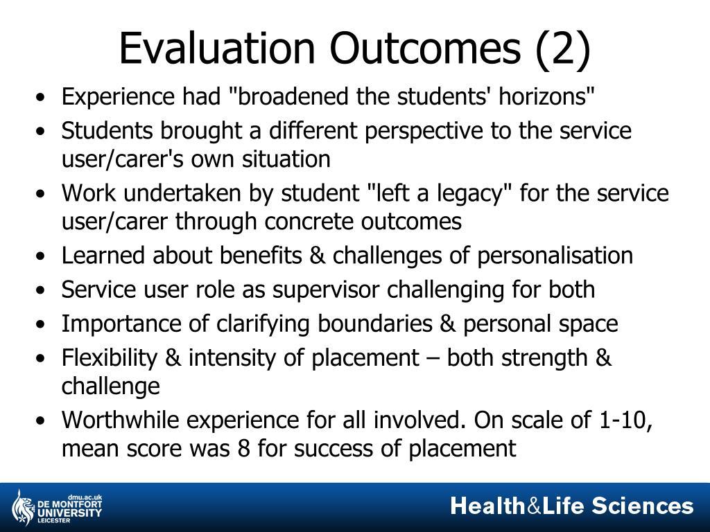 Evaluation Outcomes (2)