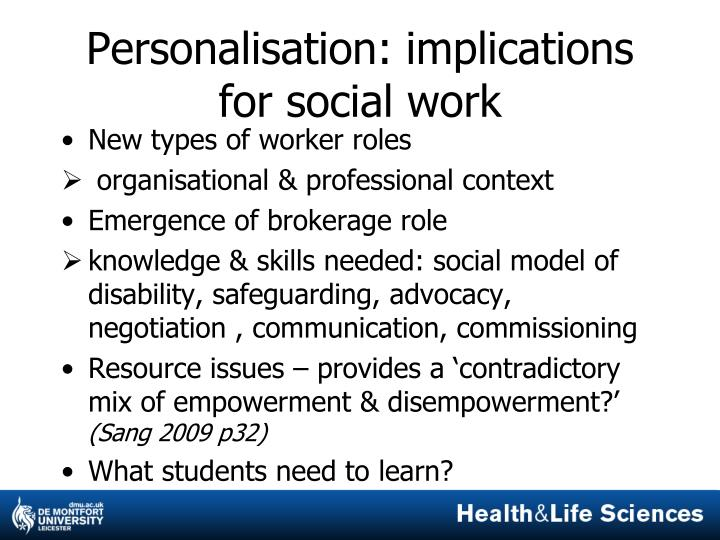 Personalisation implications for social work