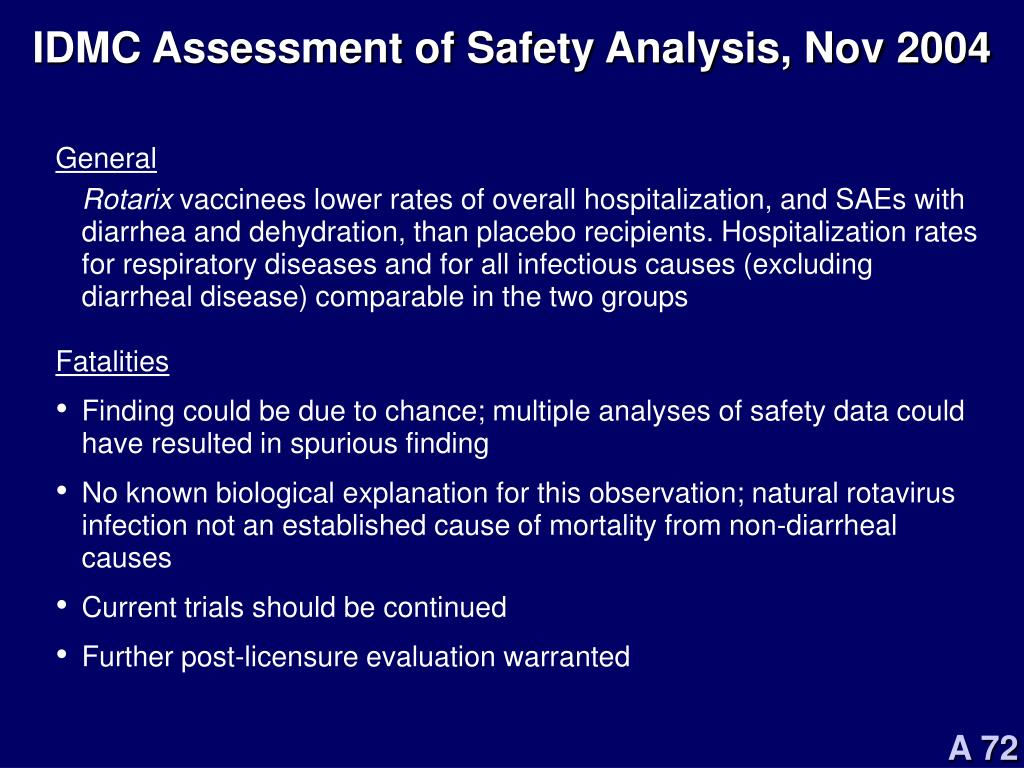 IDMC Assessment of Safety Analysis, Nov 2004