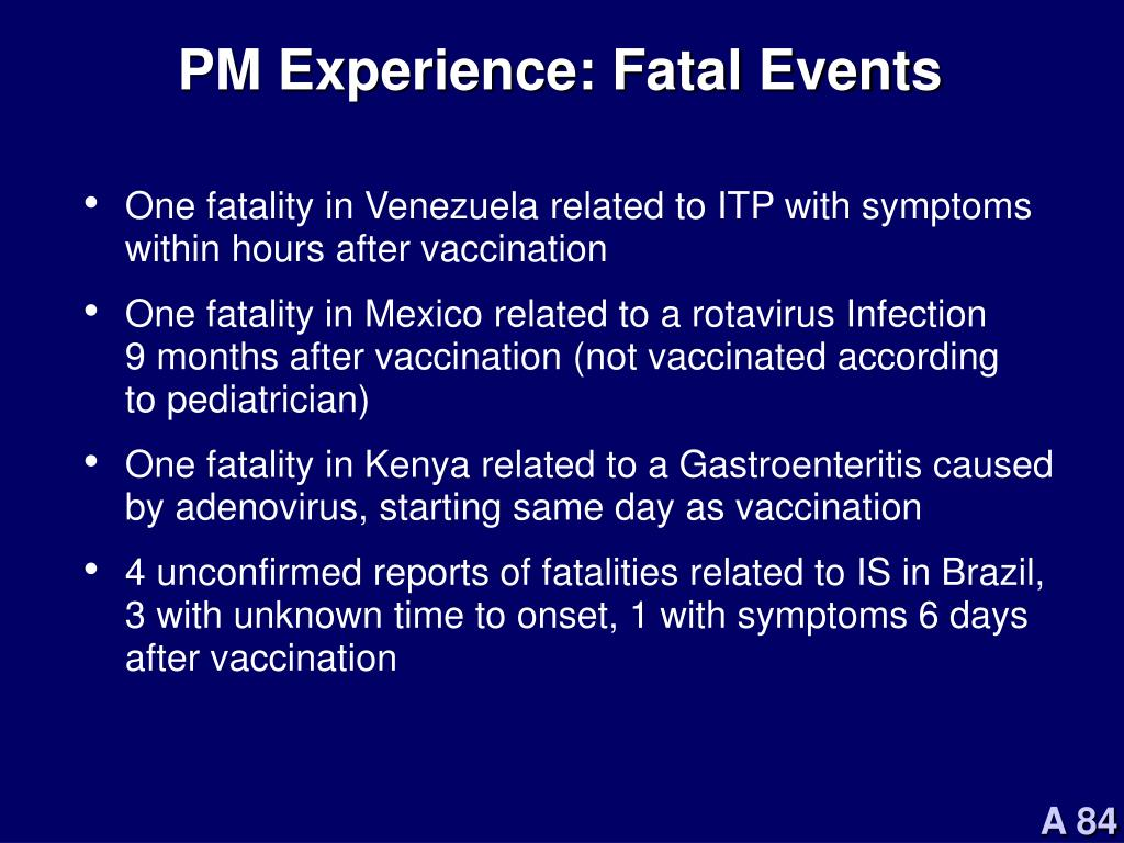 PM Experience: Fatal Events