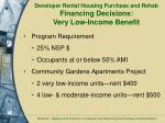 developer rental housing purchase and rehab financing decisions very low income benefit