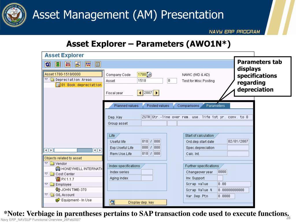 PPT - Navy ERP Finance – Asset Management (AM) Operations & Data