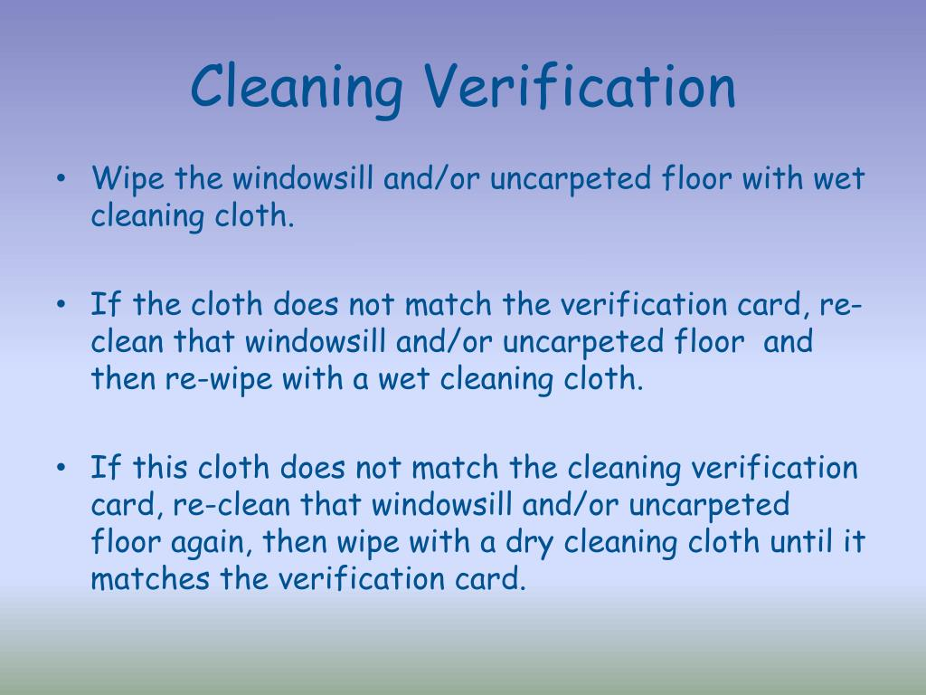 Cleaning Verification