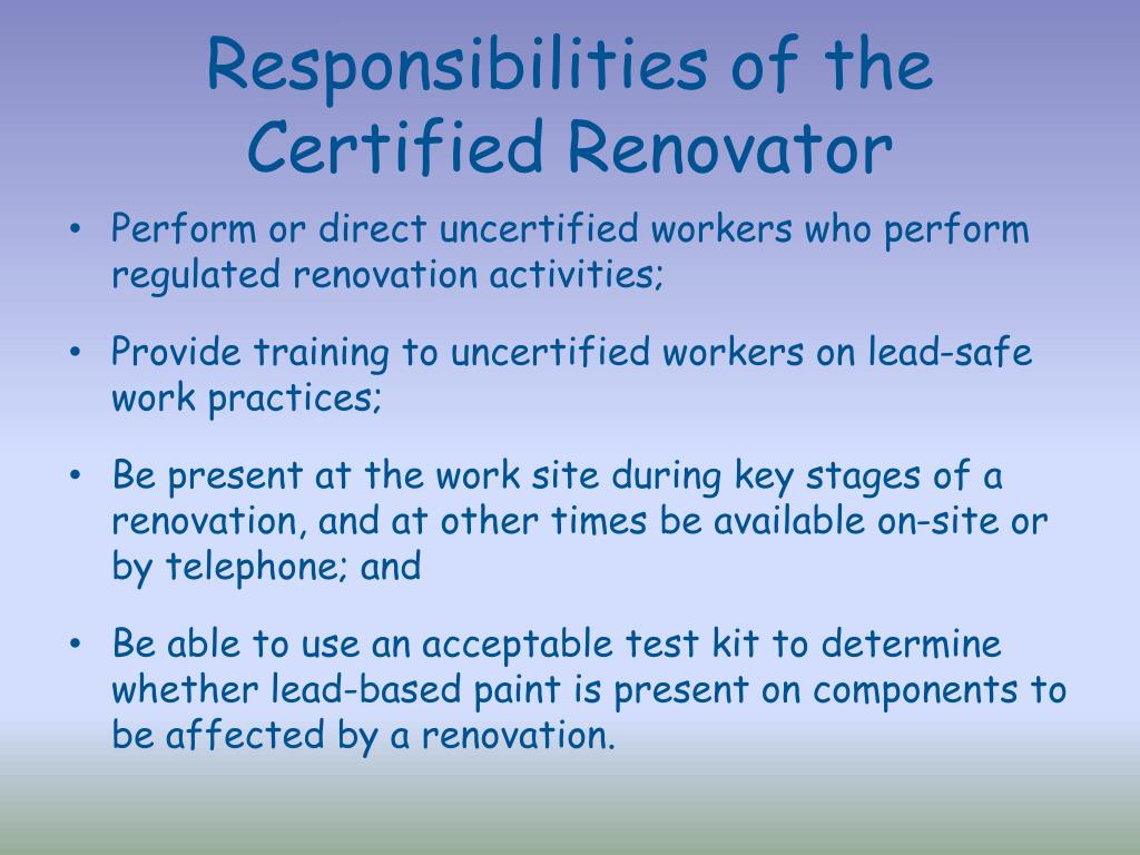Responsibilities of the Certified Renovator