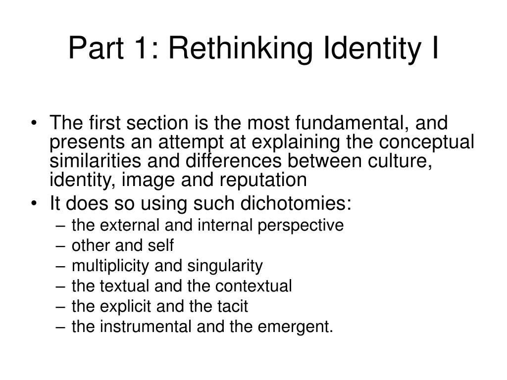 Part 1: Rethinking Identity I