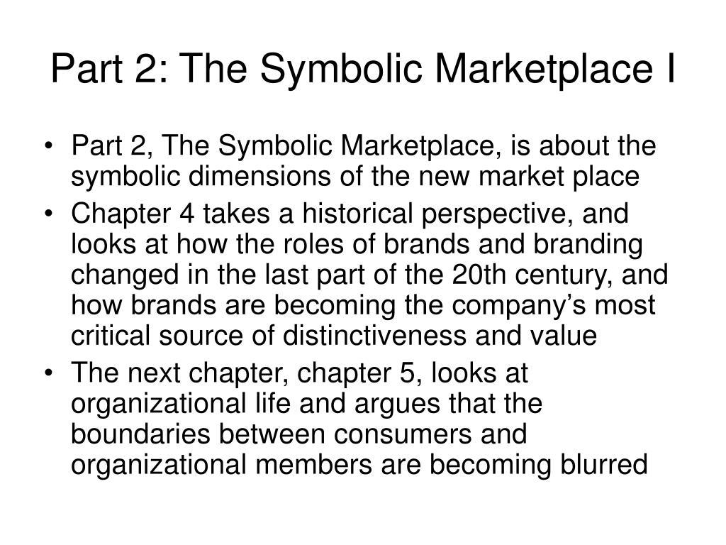 Part 2: The Symbolic Marketplace I
