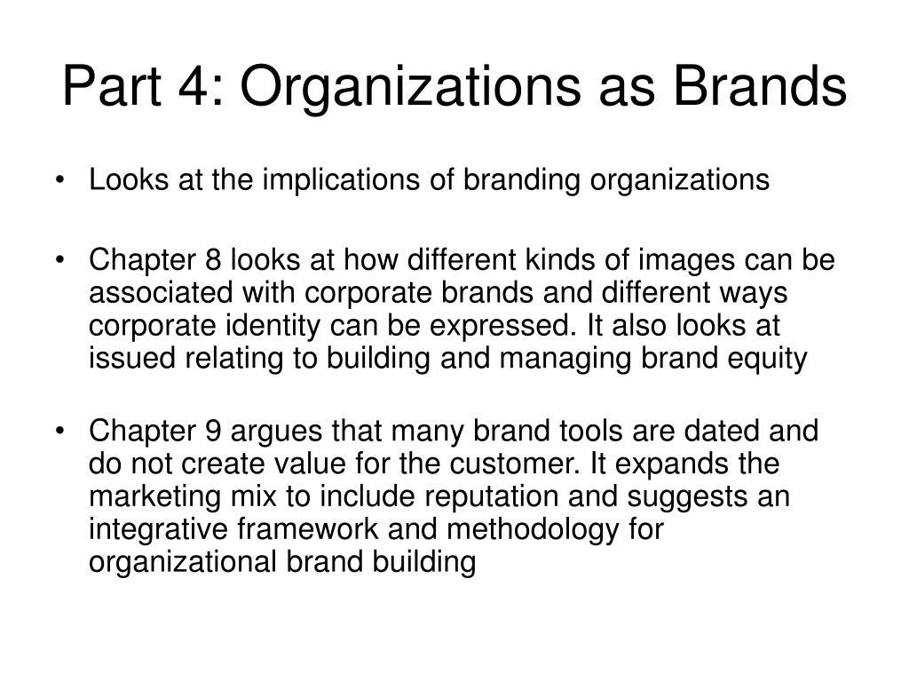 Part 4: Organizations as Brands