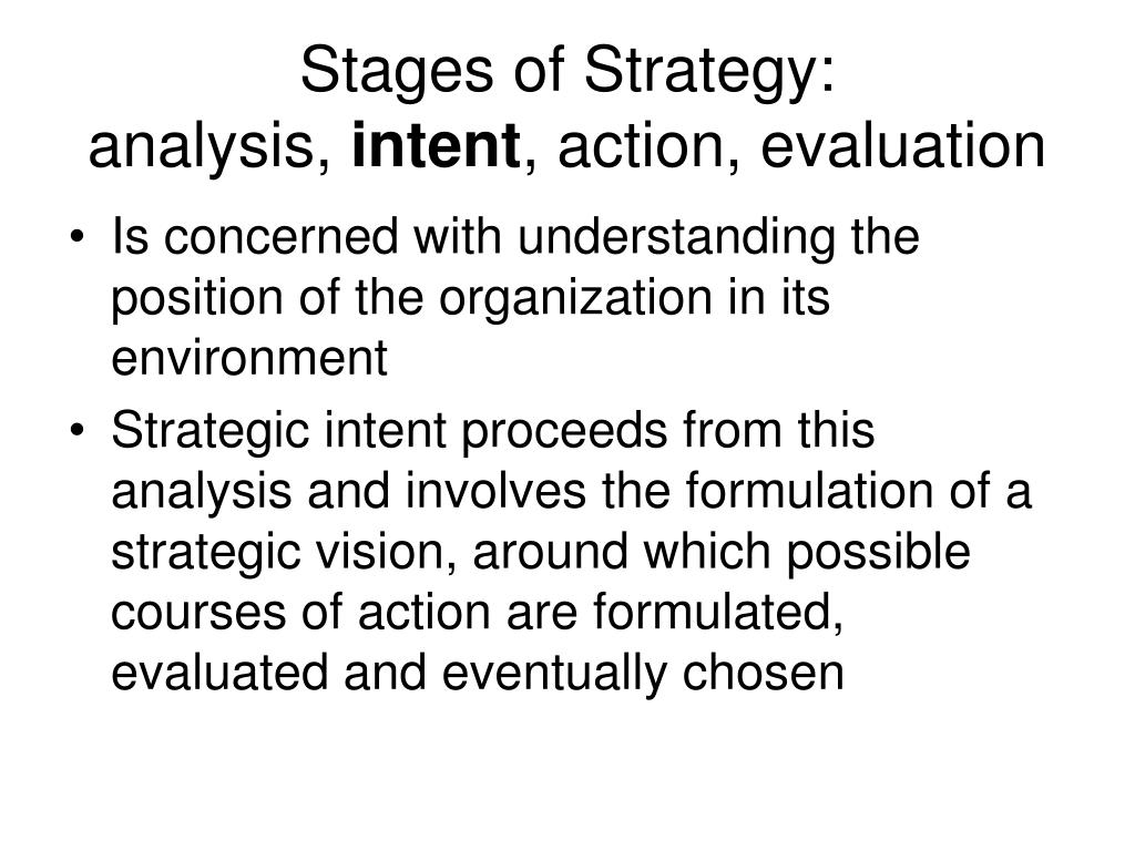 Stages of Strategy: