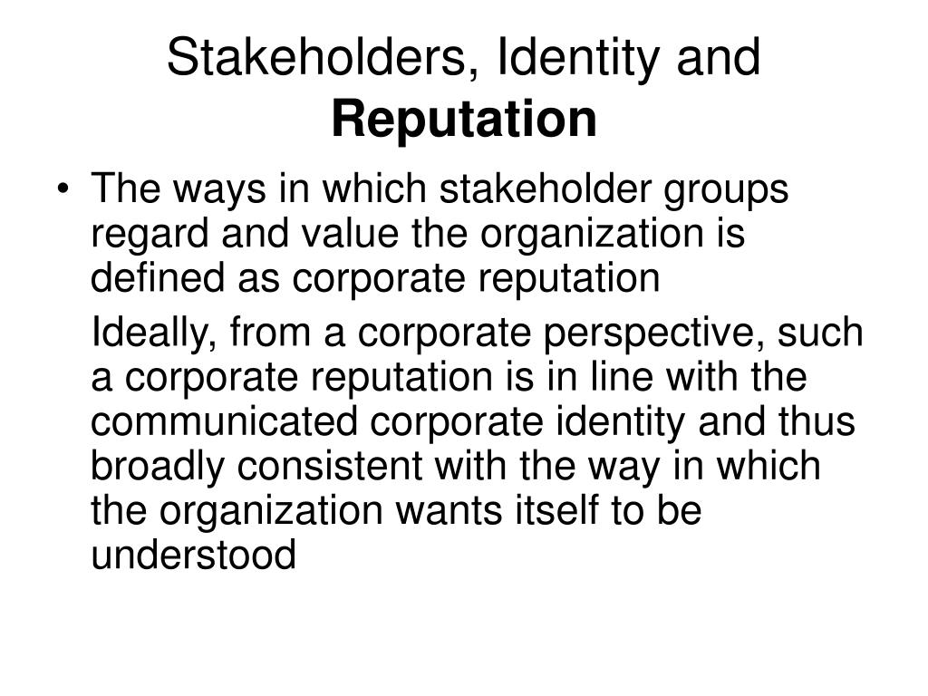 Stakeholders, Identity and
