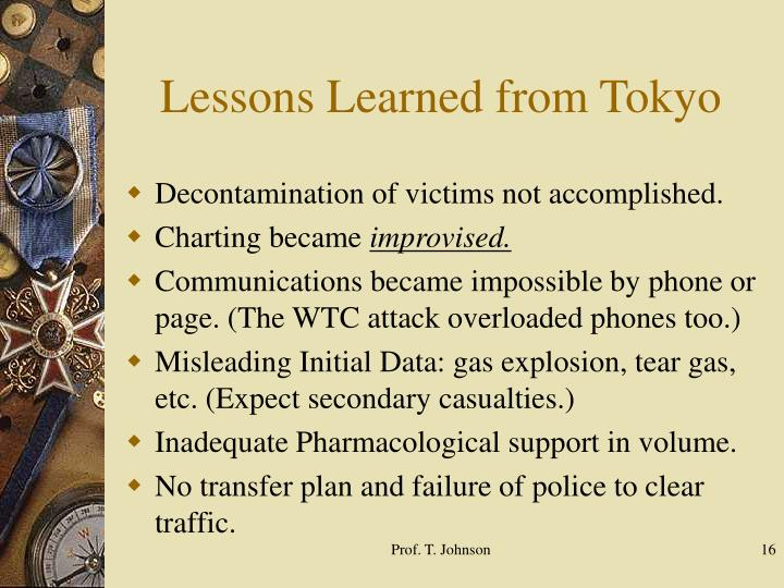 Lessons Learned from Tokyo
