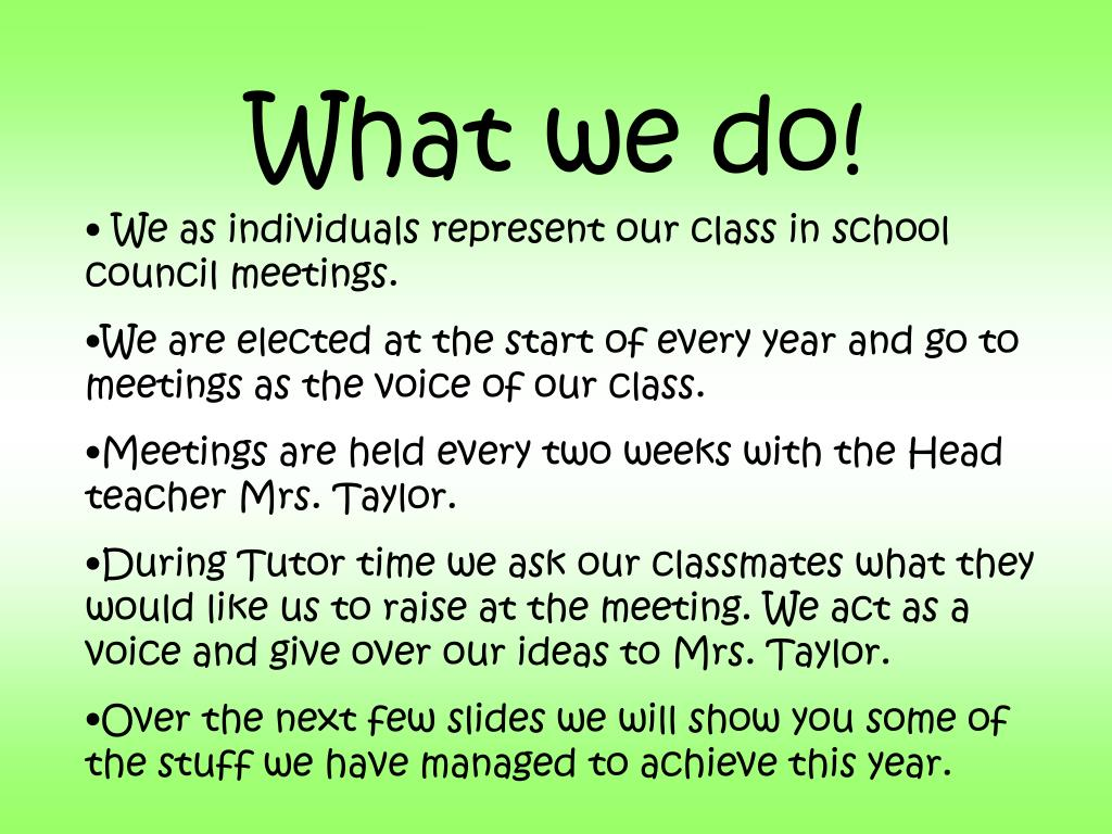 What we do!