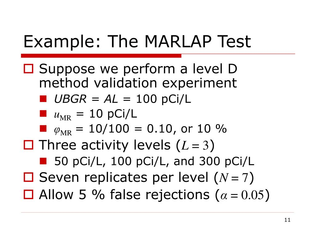 Example: The MARLAP Test