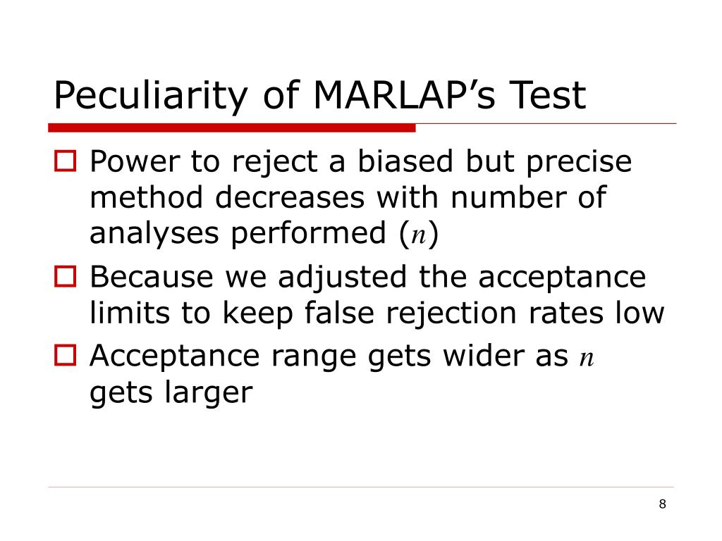 Peculiarity of MARLAP's Test