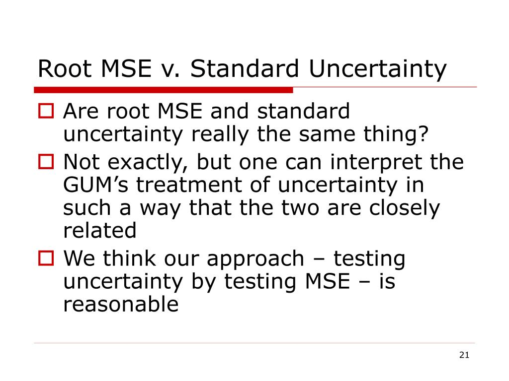Root MSE v. Standard Uncertainty