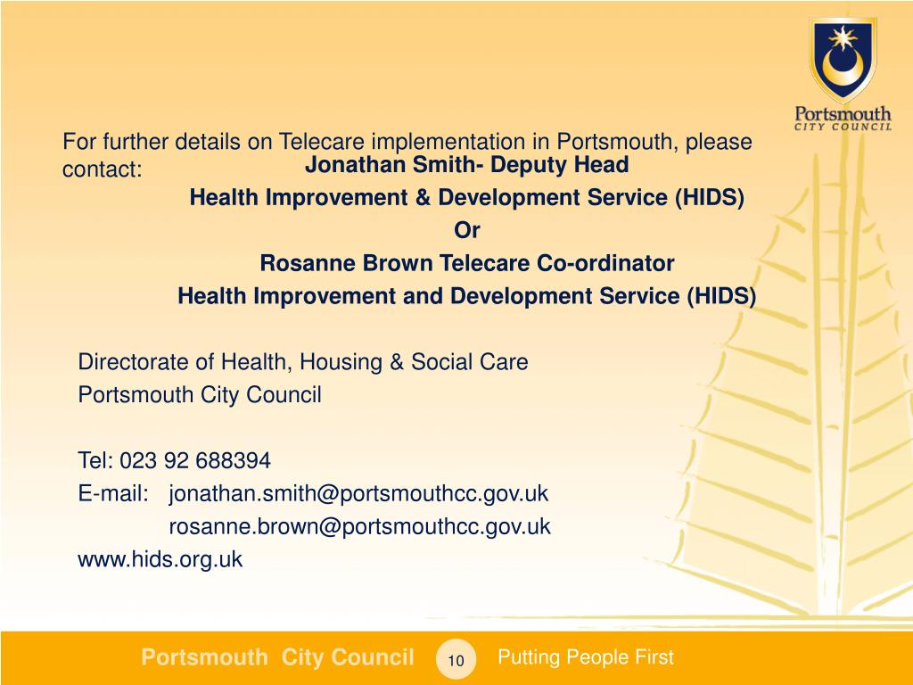 For further details on Telecare implementation in Portsmouth, please contact: