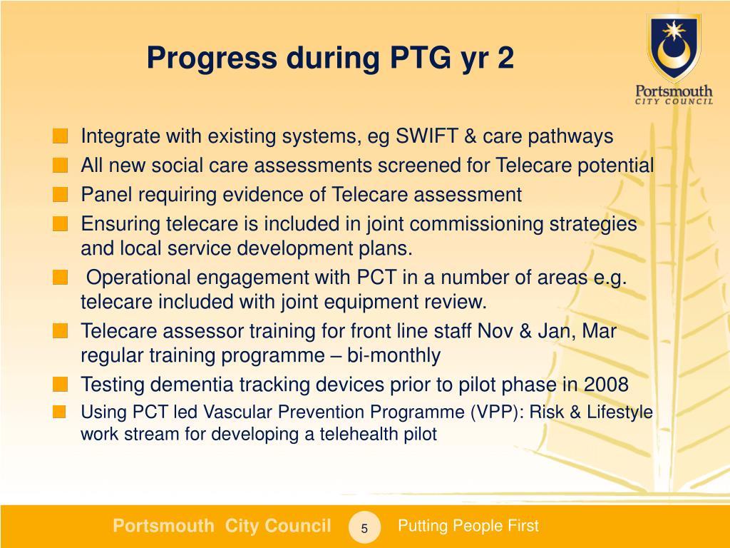 Progress during PTG yr 2