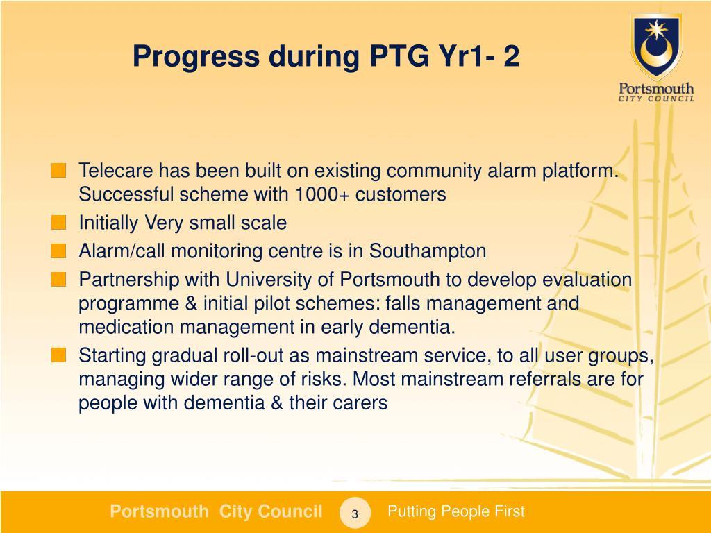 Progress during PTG Yr1- 2