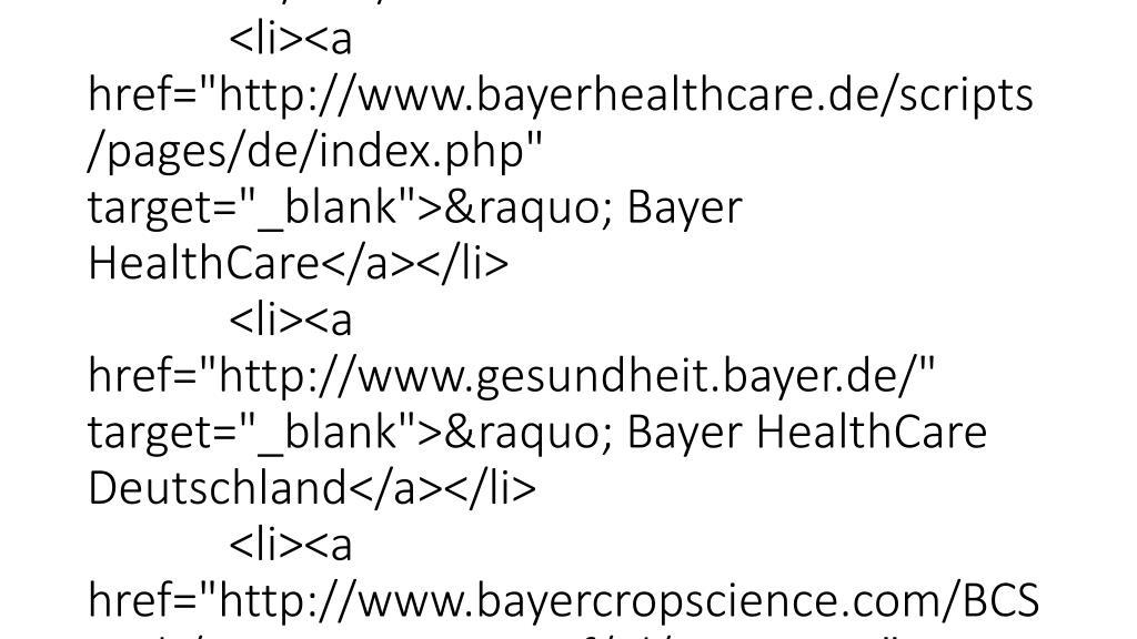 """<ul id=""""metanav"""">                 <li class=""""first""""><a href=""""https://www.gesundheit.bayer.de/de/SSL/contact_popup.php?website=gesundebienen"""" target=""""_popup"""">Kontakt</a></li>                 <li><a href=""""/scripts/pages/de/suche.php"""" >Suche</a></li>                 <li><a href=""""/scripts/pages/de/sitemap.php"""">Sitemap</a></li>     </ul> <ul id=""""bayergroup"""">     <li><a href=""""http://www.bayer.de"""" target=""""_blank"""">» Bayer Group</a>         <ul>             <li><a href=""""http://www.bayer.de"""