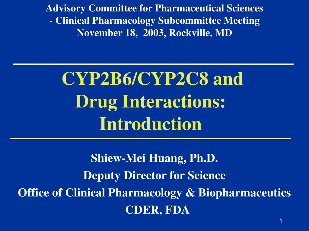 cyp2b6 cyp2c8 and drug interactions introduction