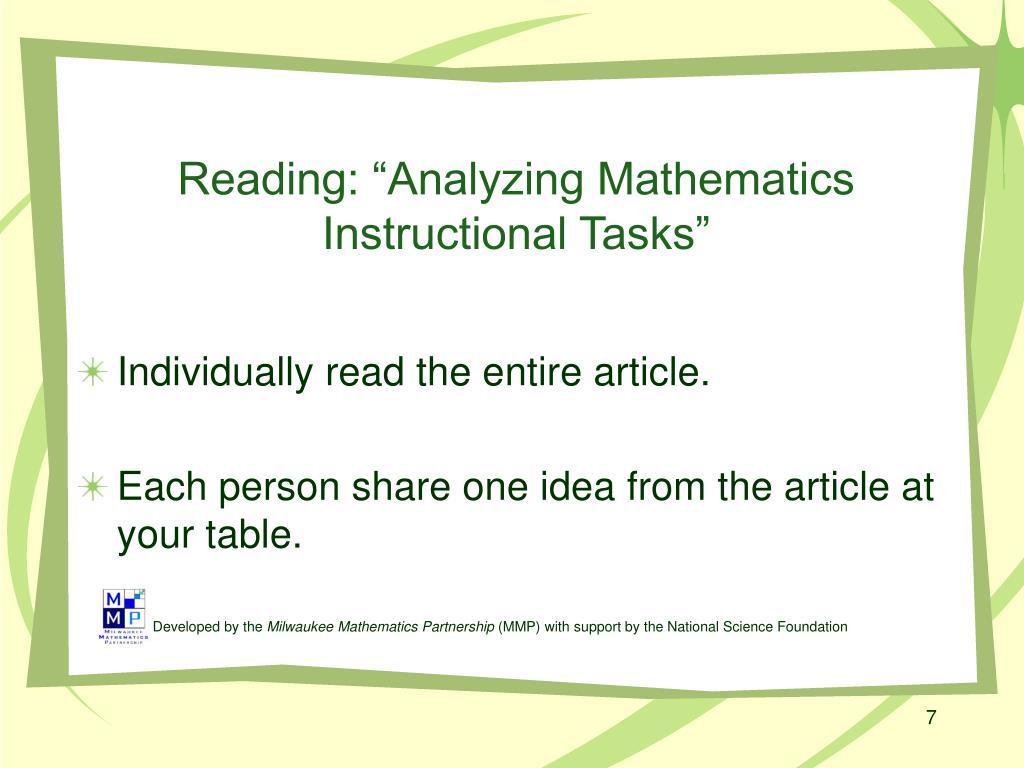 """Reading: """"Analyzing Mathematics Instructional Tasks"""""""