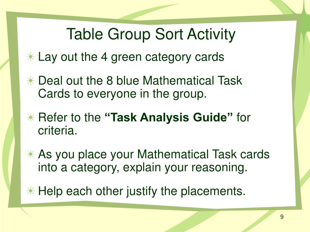 Table Group Sort Activity